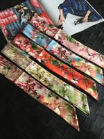 Wholesale red polka dot headband - Fashion Floral Flowers Print Small Rectangle Scarf 85x5cm Headband Brand 100% Silk Scarves Female Can For Handbags