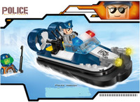 Wholesale kids city blocks resale online - Mini Figures City Police Launch Motorboat Figures MOC Educational Building Blocks Sets Kids toy Bricks