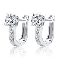 koreanische glänzende ohrringe großhandel-U-förmige Hoop Ohrring für Frauen Dame mit Shiny Crystal Korean Fashion Ohrringe weibliche Mädchen Zubehör Geschenk vorhanden