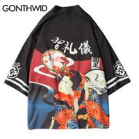 Wholesale japan style kimono - GONTHWID Japanese Ukiyo Printed Kimono Cardigan Jackets 2018 Autumn Mens Harajuku Japan Style Casual Streetwear Jacket Coats