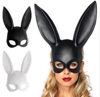 ingrosso schiavitù maschile-Black Women Girl Sexy orecchie da coniglio maschera carino Bunny lungo orecchie Bondage Mask Halloween Masquerade Party Cosplay Puntelli