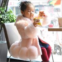 ingrosso ragazza di volpe della pelliccia-Furry Girls 2018 Autunno Inverno Bambino Faux Pelliccia di volpe Cappotti Giacche Inverno Caldo Bambini più spesso infantile Capispalla neonato