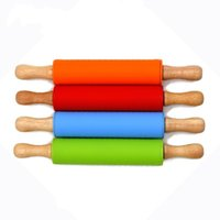 Wholesale b rollers for sale - Group buy Creative Safe Silica Gel Dough Roller Chunky Wooden Handle Mini Rolling Pins Soft Silicone Dumpling Stick Kitchen Tools as B