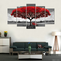 Wholesale hanging pictures - Amosi Art-5 Panels Red Tree Canvas Painting Flowers Wall Art Landscape Artwork Print on Canvas For Home Decor Wooden Framed Ready to Hang
