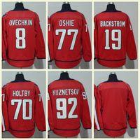 nhl jerseys envío al por mayor-2018 Mens NHL Jersey # 70 Holtby # 92 Kuznetsov # 77 Oshie # 19 Backstrom # 8 Alex Ovechkin en blanco Red Hockey sobre hielo Jerseys Envío Gratis