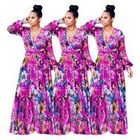 ropa de gasa de seda al por mayor-A600 envío gratis nuevo estilo de la ropa informal de las mujeres de manga larga profundo V ice gasa vestido de flores de seda