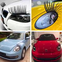 ingrosso auto decalcomania nera-Nuovo 2 pz 3D Affascinante Nero Ciglia Finte Falso Eye Lash Sticker Car Faro Decorazione Decalcomania Divertente Adesivi Personalizzati Per Beetle