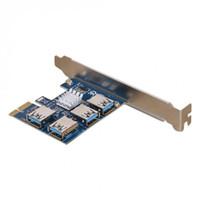 ranura pcie pci al por mayor-Nueva tarjeta PCI de expansión 1 a 4 PCI Slots Convertidor USB 3.0 Adatper PCIe Riser Cards para Bitcoin Mining Device XXM8