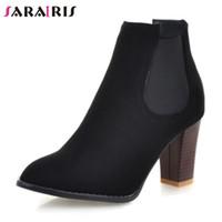 botas de tacón para el invierno al por mayor-SARAIRIS Brand Design Solid 8 Cm High Heels Banda elástica Zapatos Mujer Casual Otoño Invierno Tobillo Botas de gran tamaño 32-46
