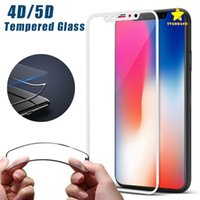 Wholesale 4d Glasses - High Quality 4D 5D Tempered Glass Screen Protector Black and White for iPhone 8 Plus iPhone X with Retail Package