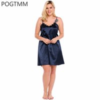 Wholesale-Big Size 5XL Sommer Sexy Satin Nightgown Nachtwäsche Frauen Floral Lace Short Mini Nachtwäsche Silk Sleep Kleid Nacht Kleid Kleidung