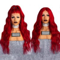 Wholesale red hair lace front wigs - Sexy Cosplay Long Red Body Wave Wig Glueless Synthetic Lace Front Wigs With Baby Hair 180% Density Heat Resistant Fiber Wigs For Women