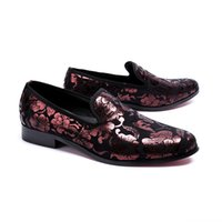 ingrosso pantofole per la festa nuziale-New Vintage Floral Men Dress Shoes Wedding Party Uomo Mocassini Fashion Smoking Slippers Italian Slip on Flats Shoes