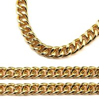 Wholesale 14k curb chain - 2018 New Fashion Jewelry Gold Hip Hop Chain Two Size Curb Cuban Link Rock Chains Necklaces For Men's Women