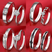 Wholesale claw rings for men - New style opening couples ring female Korean zircon six-claw crown for Women Men Wedding Jewelry Gift with box free shipping
