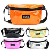 Wholesale translucent clothes - Fashion Love Pink Letter Laser Bag Waterproof Translucent Rainbow Color Waist Bag Designer Travel Beach Purse Bags Totes Pockets WX9-689