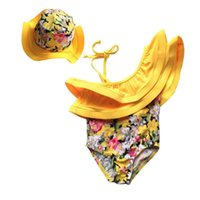 детские купальные костюмы оптовых-Summer Kids Girl Swim Suit Newborn Baby Girls Swimwear Hat Floral Swimsuit Tankini Bathing Suit 2017 New