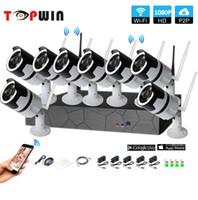 ingrosso telecamere cctv-8CH 1080p a due vie audio talK HD wireless NVR Kit P2P Indoor Outdoor IR Night Vision 2.0MP IP telecamera WIFI Sistema CCTV