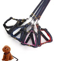Wholesale Gray Puppies - Dog leash chest back sets of large collar harness chain safety belt pets traction rop pet strap rope for puppy small medium large dogs