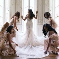 Wholesale sexy wedding party dresses online - Cheap Rose Gold Sequined Long Bridesmaid Dresses Sexy Off Shoulder Pleated Backless Formal Dress Party Wedding Guest Gown