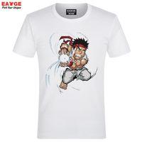 Wholesale Fire Red Flash - Wholesale- [EATGE] New Design Cute Ryu Fire Hadoken Street Fighter T-shirt Cool White Short Sleeve T Shirt Fashion Brand Men Summer Tshirt
