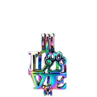 Wholesale cat cages resale online - 10pcs Rainbow Color LOVE Cat Paw Beads Cage Locket Pendant Diffuser Aromatherapy Perfume Essential Oils Diffuser