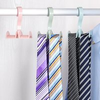 Wholesale Hanging Storage Space Bag - Plastic Double Hanging Hooks Space Saver Rotating Scarf Ties Bags Storage Rack Practical For Home Office Pothook Pink 1 68xm B
