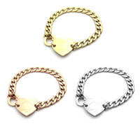 Wholesale thick bracelet silver - 2018 Wholesale foreign trade hot titanium steel hand chain heart button T - letter thick bracelet 18K gold bracelet jewelry.