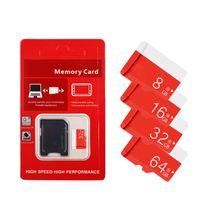 cartes génériques achat en gros de-Rouge générique 32 Go 64 Go 128 Go 256 Go C10 TF carte mémoire flash classe 10 libre adaptateur SD au détail blister paquet épacket dhl livraison