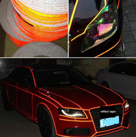 Wholesale reflective stickers bike - Car Sticker 1cm*5m Reflective Sheeting Tape Adhesive Film Reflect Auto Body Motorcycle Bike Stickers Vinyl Decal Style Decoration