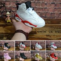 ingrosso grandi scarpe blu delle ragazze-6 carminio scarpe da basket per bambini 6s UNC nero blu bianco infrarosso ragazzi ragazze oreo nero gatto scarpe da ginnastica grandi bambini size5.5-13
