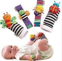 Wholesale cotton soft toys - Baby Rattle Socks Happy Socks 4pcs set 0-12 Months Cartoon Cotton Baby Rattles Toys Baby Soft Wrist Rattles Hand bell 20