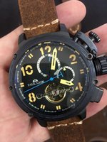 Wholesale Cow Leather Watches - Wholesale-Brand New Men's Automatic Mechanical Rose Gold Boat Stainless Steel Brown Cow Leather Sports 50mm Tourbillions Watches For U