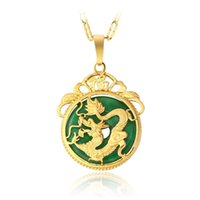 Wholesale gold jade dragon - 2018 Brand New Noble 18k gold plated men Pendant Necklace Malay jade Dragon Necklace MOG 1