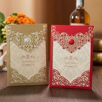 Wholesale customized invitations - 50pcs Red Gold Laser Cut Crown Flora Wedding Invitations Card Greeting Cards Customize Envelopes Wedding Event Party Decoration