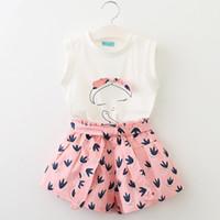 ingrosso camicia dolce coreana-Sweet Ins Set di abbigliamento per bambini Outfit Bow T-shirt senza maniche + Bow Stampa shorts 100% cotone 2pcs set all'ingrosso 3T-7T Coreano