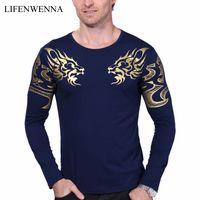 Wholesale breathable atmosphere - 2017 Autumn New High -End Men 'S Brand T -Shirt Fashion Slim Dragon Printing Atmosphere T Shirt Plus Size Long -Sleeved T Shirt Men