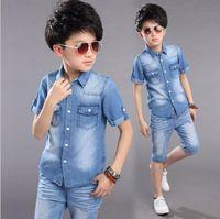 Wholesale teens summer clothes online - Kids Children s Boys Summer Clothing Cotton Denim Set Suits For School Teens Boys Clothes Sets New