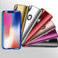 Wholesale iphone gold plating case - Luxury 360 Full Protection Plating Cell Phone Cases For iPhone X 8 7 6 6S Plus 5S Cover For Samsung Galaxy S9 S8 Note 8 With Protector Film