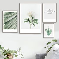ingrosso vernice verde tela bianca-White Rose Green Leaves Wall Art Canvas Painting Nordic Minimalism Poster And Prints Immagini a parete per soggiorno Quadro Decor