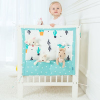 игрушки для кроватки оптовых-Новый дизайн муслин дерево кровать висит сумка для хранения детская кроватка марка детская хлопковая кроватка 50 * 60 см игрушка пеленки карман для кроватки постельных принадлежностей