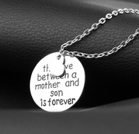 aile takıları toptan satış-Love Between A Mother And Son Is Forever Love Pendant Necklace Mom Mommy Mama Women Femme Jewelry Family Choker Collier Collar Party Gift