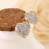 Wholesale wholesale wedding earings online - Fashion Logo Pave Tone Stud Earrings High quality crystal heart Earings fashion brand Wedding jewelry for women girls