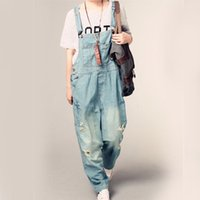 Wholesale Winter Jeans Woman - Winter Spring Washed Ripped Women Jeans Student style With Pocket Casual Overalls Plus szie pants Blue color L-4XL