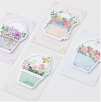 Wholesale stationery wholesalers for sale - 4 Beautiful flowers sticky note and memo pad Journal stickers scrapbooking Gift Stationery Office School supplies