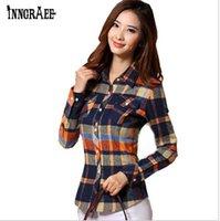blusas de moda china venda por atacado-Camisa blusa mulheres xadrez camisa de algodão de manga comprida blusa tops moda camisa roupas baratas china roupas de inverno outono ns1025