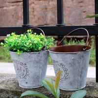 eisengarten blumen großhandel-Retro Blumentopf Eisen Haut Blume Eimer Garten Mini Hause Schmücken Hochzeit Gefälligkeiten Party Geschenke Garten Topf Pflanzgefäße 5 9xf