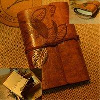 journal relié en cuir vintage achat en gros de-Vintage Faux Cuir Feuille Ficelle Lié Blank Kraft Papier Journal Journal Journal
