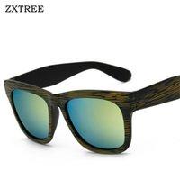 big framed glasses retro toptan satış-ZXTREE Marka Retro Güneş Gözlüğü Erkekler Büyük Çerçeve Ahşap Tahıl Gözlük Unisex Gözlük Erkek Güneş Kadınlar Shades ulosculos UV400 Z375