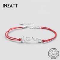 bracelete de corda vermelha venda por atacado-INZATT Authentic 925 Sterling Silver Étnica Red Rope Carta AMOR Pulseira Jóias Finas Para As Mulheres Do Partido Acessórios Da Moda Presente